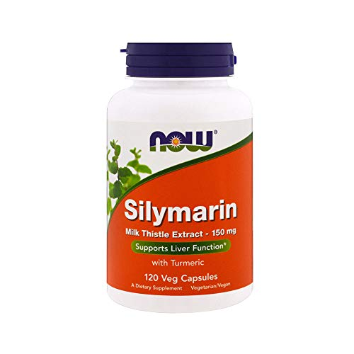 NOW Supplements, Silymarin Milk Thistle Extract 150 mg with Turmeric, Supports Liver Function*, 120 Veg Capsules