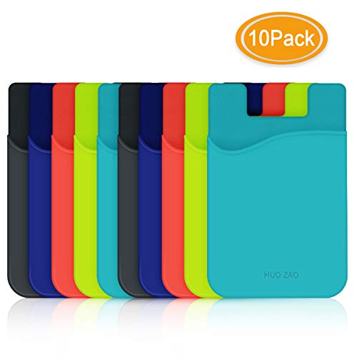 Credit Card Holder for Phone Back, HUO ZAO Silicone Card Cling with 3M Adhesive Stick-on Phone Wallet, Compatible with Apple iPhone Samsung Galaxy Android Cell Phone Table Multi Colors - 10 Pack