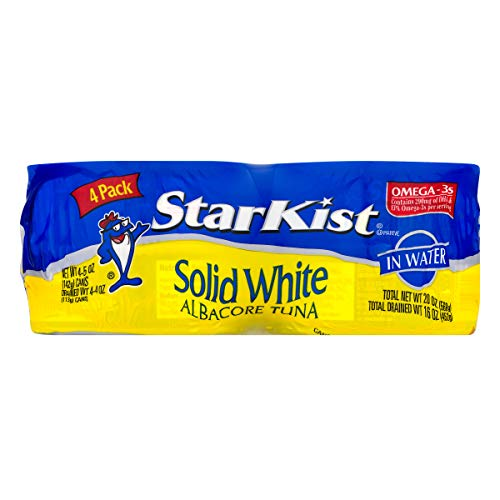 StarKist Solid White Albacore Tuna in Water, 4 - 5 Oz Can (Pack of 6) - 24 Cans Total