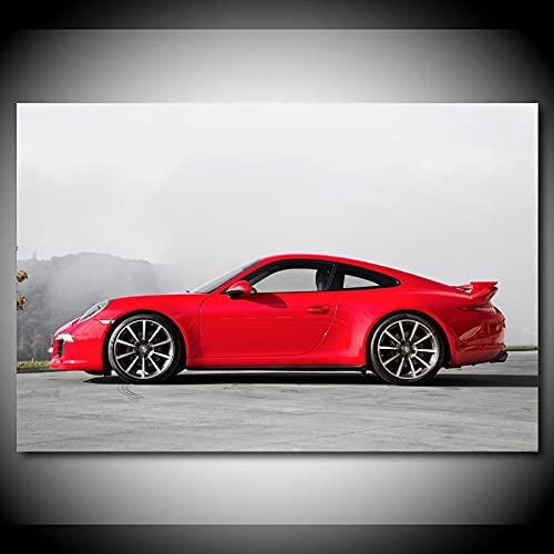 Pintura decorativa Papel pintado de pintura moderna Porsche rojo 911 Carrera 4S carteles deportivos lienzo impresiones artísticas de pared para la decoración de la habitación del hogar 60x80cm