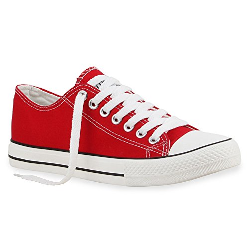 stiefelparadies Damen Schuhe Herren Schuhe Sneakers Sportschuhe Stoffschuhe Schnürer 16163 Rot Ambler 36 Flandell