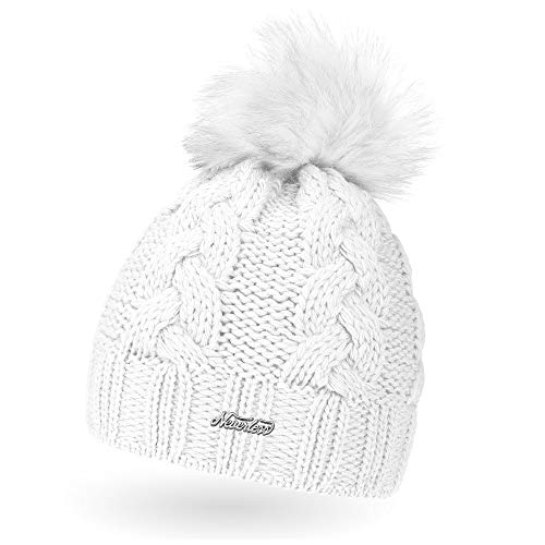 Neverless Damen Strick-Mütze gefüttert mit Fell-Bommel, Kunstfell, Winter-Mütze, Bommelmütze, weiß Unisize