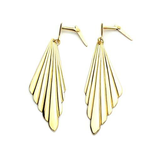 Large 9ct Gold Art Deco Grooved Fan Drop Andralok Earrings/Earring/Dangly