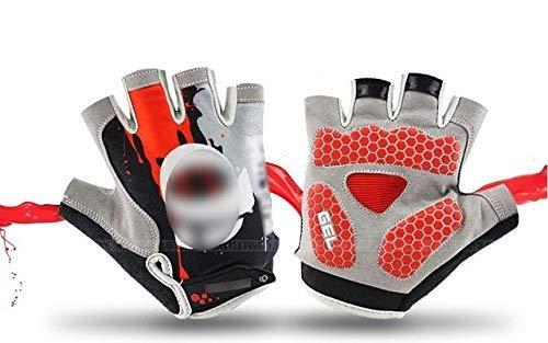 Gants de vélo C/Gants de Sport VTT/Gants de vélo de Course Respirants VTT (pour Hommes et Femmes) - AK89 Rouge, XL