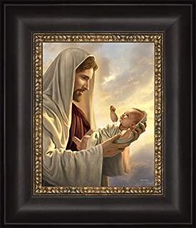 Simon Dewey in His Constant Care 12x14- Framed Strata Design- Jesus Holding Baby