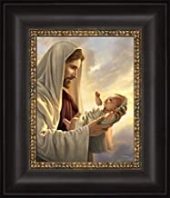 Simon Dewey in His Constant Care 12x14- Framed Strata Design- Jesus Holding Baby