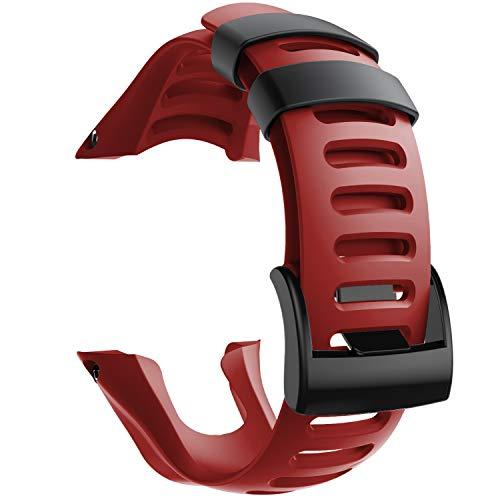 NotoCity Compatible con Correa Suunto Ambit 3, Silicona Reloj de Recambio Brazalete Correas para Suunto Ambit 3 (Hebilla Negra, Rojo)
