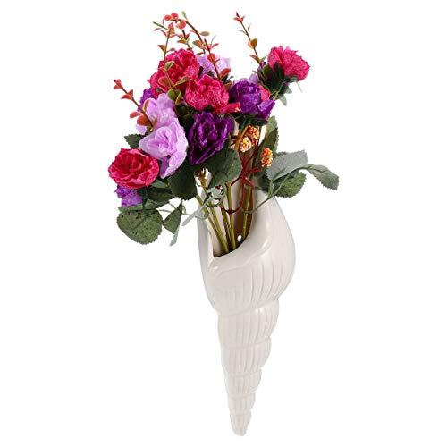 WINOMO Fleurs Artificielles dans Un Vase Arrangements de Fleurs Roses Nautiques Faux Bouquets de Fleurs Faux avec Céramique Vase Conque pour Art Mural Table Décor de Cuisine (Blanc)