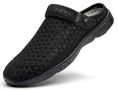 Unisex Clogs Hausschuhe Muffin Unten Alltägliche Drag Pantolette Sommer Beach Schuhe Sandalen für Damen Herren, E Schwarz, 46 EU