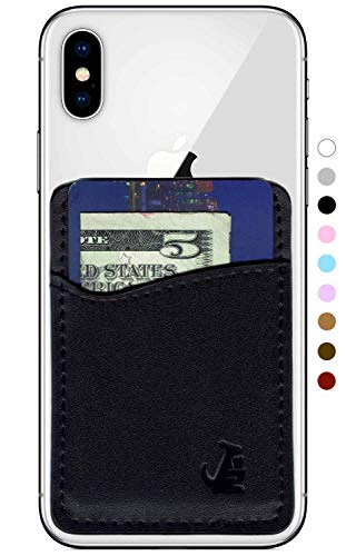 WALLAROO Premium Leather Phone Card Holder Stick On Wallet for iPhone and Android Smartphones Kangaroo (Black Leather)