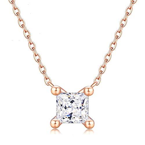 Daesar Collar Cadena Oro Rosa 18K Mujer,Colgante Mujer Oro Rosa Cuadrada 4 Garras Diamante Blanco 0.15ct