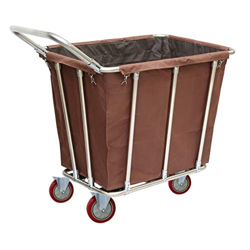 GWXTC Faltbarer Bollerwagen Dienstwagen-Hochleistungskaffee-Farbwäschekorb-Sortierer, Housekeeping-Industrie-Laufkatze, die leise Räder rollt, Last 150kg, L90 * W65 * H85CM (Color : with Handrail)