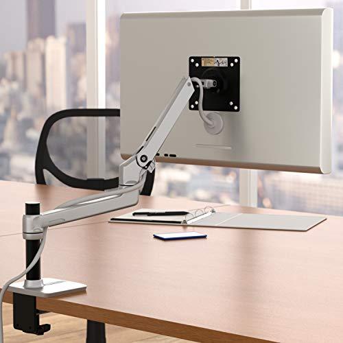 Amazon Basics Hochwertige Monitorhalterung für einen Monitor, Hub-Armhalterung, Aluminium, Silberfarben