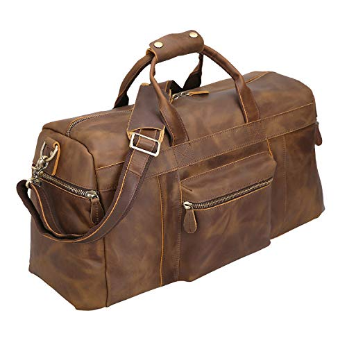 Polare 23'' Full Grain Cowhide Leather Weekender Duffle Bag Overnight Luggage Travel Bag With Premium YKK Zippers