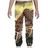 Oomato Leopard Cheetah Youth Sweatpants 3D Print Teens Trousers, Boys Girls Casual Active Soft and Cozy Sports Jogger Pants