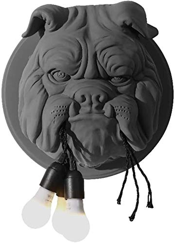 GaLon Lámpara de pared bulldog, lámpara de pared creativa, Cabeza de animal Diseño Linterna de pared, Handgeschnitzt for estar Cocina Loft Bar decoración del regalo Ø41cm E27 × 3 (Color : Black)