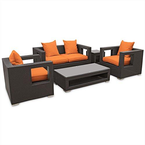 Big Sale LexMod Lunar Outdoor Wicker Patio 5 Piece Sofa Set in Espresso with Orange Cushions