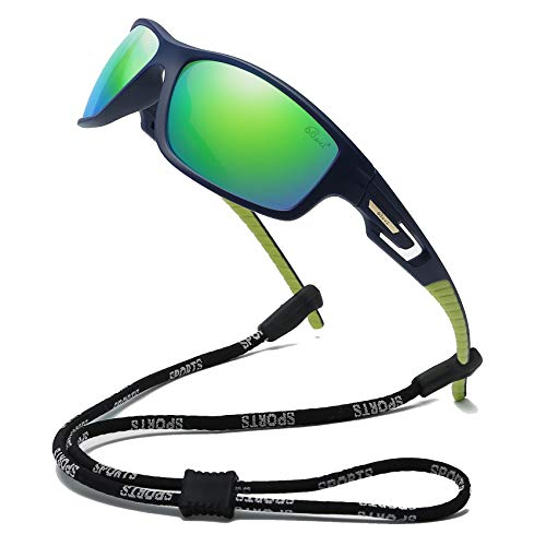 Bevi Men's Polarized Rectangular Wrap Around Cycling Sunglasses TR90 Ultralight Frame 2516C3