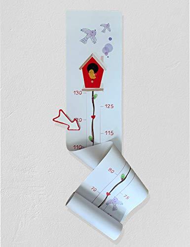 Medidor infantil gráfico de crecimiento estatura para personalizar. Regla gráfica de altura, niño, niña. Diseño exclusivo. Tabla crecimiento decorar, Colgar Pared Dormitorio. (Bird)