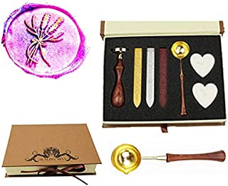 MNYR Wreath Lavender Ginkgo Leaf Botanical Nature Wax Seal Stamp Kit Wooden Handle Spoon Candle Gift Box Set for Decorating Gift Packing, Envelopes, Parcels, Cards, Letetrs, Wedding Invitations Seal
