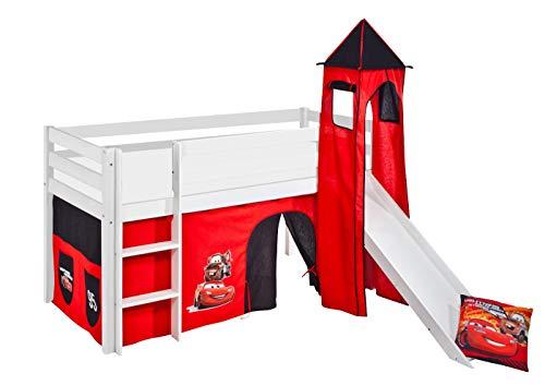 Lilokids Spielbett Jelle Disney Cars, Hochbett mit Turm, Rutsche und Vorhang Kinderbett, Holz, weiß, 208 x 98 x 113 cm