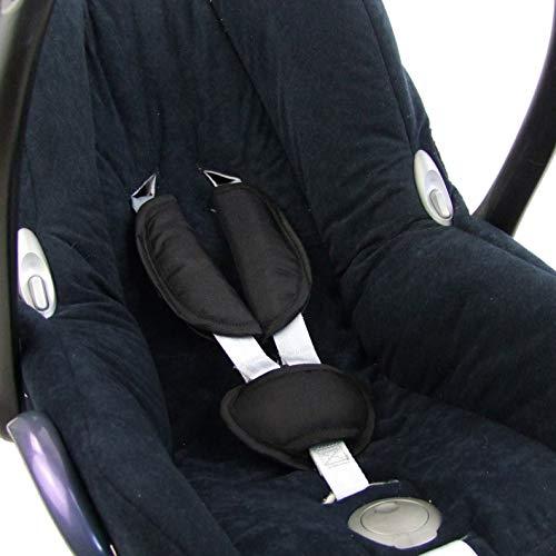 Babys-Dreams UNIVERSAL 3tlg. SET Gurtpolster + Schrittpolster für Maxi-Cosi - RÖMER - Babyschalen Gruppe0 (Schwarz) XX