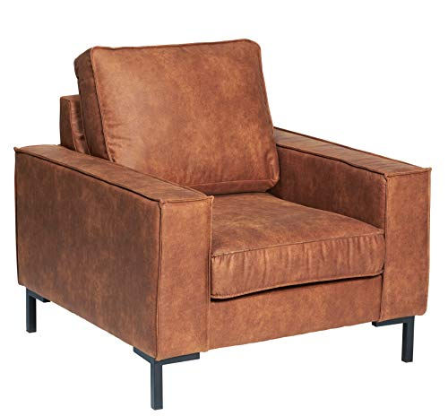 Fauteuil Caldwell stof bruin, 90 x 94 x 94 cm. Moderne cognac-kleurige fauteuil met zwart metalen poten voor woonkamer. Deze 1 zitter is ook verkrijgbaar in de kleur grijs/antraciet.