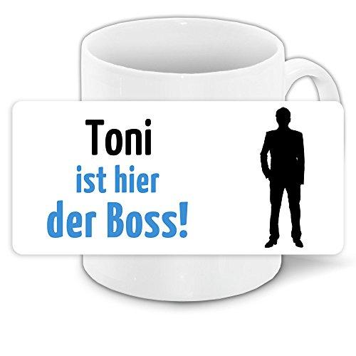 Tasse mit Motiv und Namen - Toni ist der Boss -   Büro-Tasse   Lustiger Becher