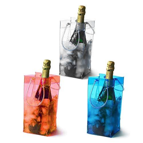 PIENSE アイスクーラーバッグ ワインバッグ 保冷 氷 PVC シャンパン 日本酒 焼酎 飲み物 3色セット SNS映え
