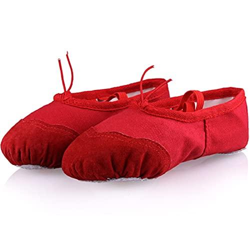 AGYE Zapatillas de Ballet Zapatos de Ballet para Niños, Niñas, Zapatillas de Baile, Zapatos de Gimnasia para Yoga, Zapatos de Lona con Suela Dividida, Planos para Niños y Adultos,Red-38