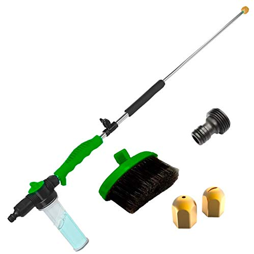 Brizer Hydro Jet Sprayer for High Pressure Power Washer Wand – 30 Inch + 9 Inch Long Extendable Sprayer, Hose Nozzle, for Car Washer, Window Water Cleaner, Glass Cleaning Tool, 2 Tips- Green