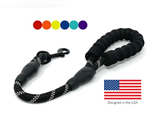 """STJ Company Short Training Leash for Dogs   Teach Them to Walk Without Pulling   18"""" Rock Climbing Rope with Swivel Metal Snap-Bolt   Take Your Pup Near Traffic and Crowds (Red)"""