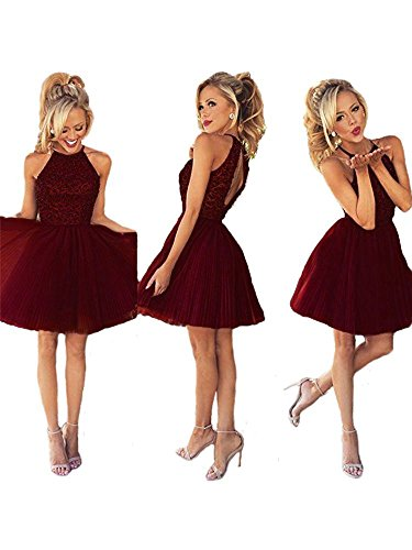 Ubridal Short Beading Keyhole Back Tulle Homecoming Dresses Prom Gowns Burgundy 2