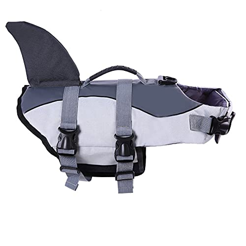ROZKITCH Albabara Ripstop Adjustable Dog Life Jacket with Rubber Handle Pet Puppy Saver Swimming Water Life Vest Preserver Flotation Aid Fish and Shark Style with fin for Small Medium, Large Dogs…