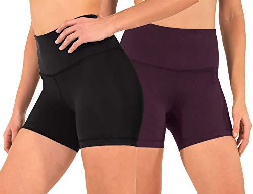 90 Degree By Reflex High Waist Power Flex Yoga Shorts - Tummy Control Biker Shorts for...