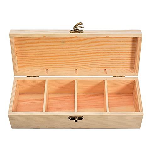 MUY Compartimento Caja de Almacenamiento de Madera Caja de contenedores de Reloj de joyería de té con Cerradura para Herramientas de Caja de artesanía casera