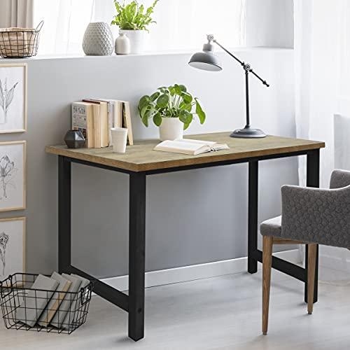 ML-Design Escritorio de Diseño Moderno 120 x 60 x 75 cm Negro Natural Mesa de Estudio Ordenador PC con Marco Metálico y Tablero de MDF Mueble Adecuado para Oficina Hogar Dormitorio Sala de Estar