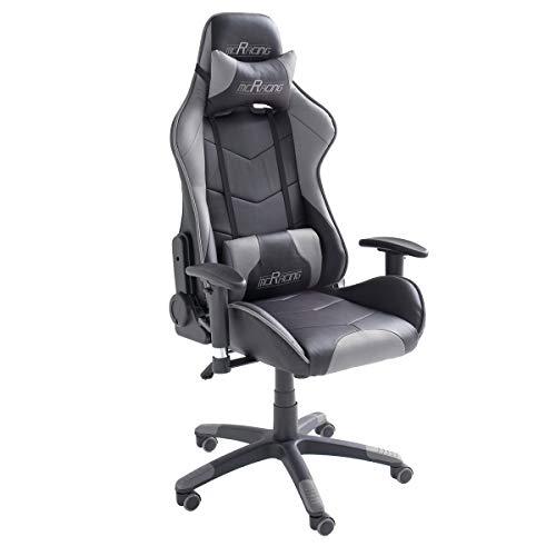 Möbel Akut Schreibtischstuhl Drehstuhl McRacing Chefsessel Bürostuhl schwarz grau mit Funktionen