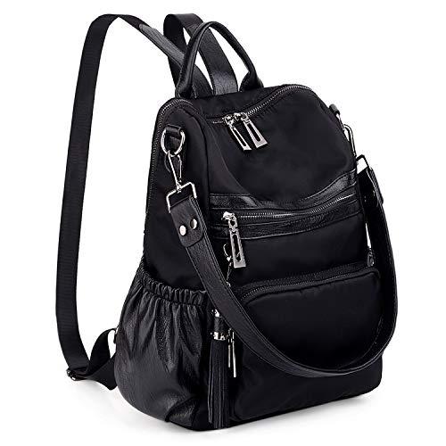 UTO - Bolso Mochila de Mujer Nylon Impermeable Durable Bolso Bandolera Bolso Escolar con Bolsillos Laterales con Borlas Negro