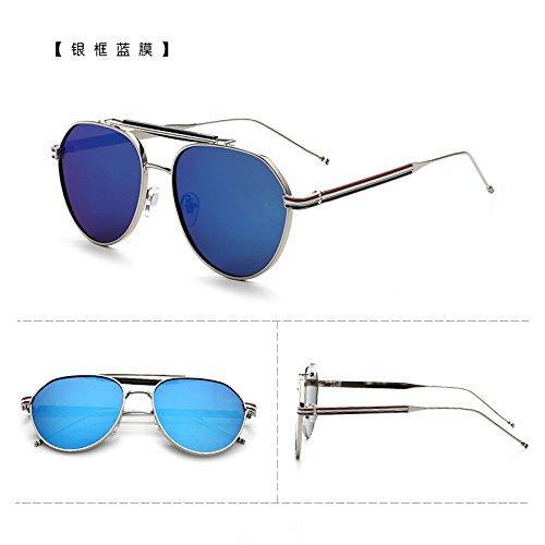 BM Sonnenbrille Sonnenbrille männer mit südkorea Lady Flut Star persönlichkeit Trendsetter Auge,der Silberne kiste Blue Film (Bag)