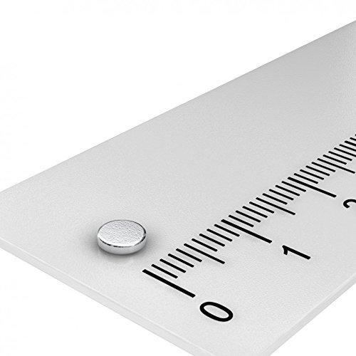 20 x Neodym Scheiben Magnet, 4 x 1 mm, Grade N45, vernickelt, Powermagnete