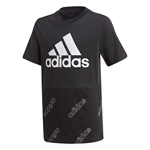 adidas Jungen YB FAV AOP T Unterhemd, schwarz/weiß, 104 (3/4 años)