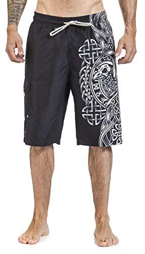 Black Premium by EMP Schwarze Badeshorts mit keltisch anmutendem Raben-Print Männer Badeshort schwarz XL