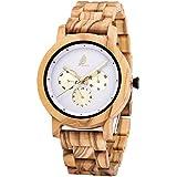 Men's/Women Wooden Watch,CZOKA Wrist Watches Men/Woman 100% Natural Wooden Quartz Movement Clock+Date/Week Display Unisex Design Lightweight for Women's and Man's (Round Olive Wood)