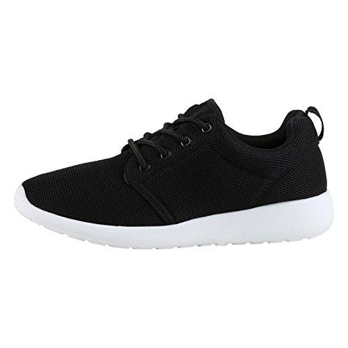 Japado Damen Schuhe Sportschuhe Trendfarben Runners Sneakers Laufschuhe Schwarz Black 38