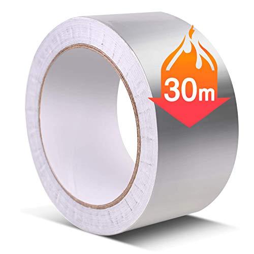 アルミテープ50mm幅x30m長 0.1mm厚さ アルミ箔テープ 耐熱 耐寒用 防水 耐熱性 熱伝導性 耐久性 耐候性 強...