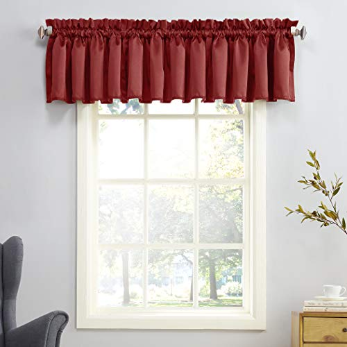 "Sun Zero Barrow Energy Efficient Rod Pocket Curtain Valance, 54"" x 18"", Brick Red"