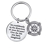 XGAKWD Inspirational Keychain for Women, Personalized Graduation Compass Key Chain Gift, Go Confidently