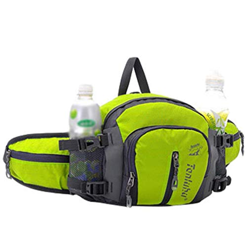 Xinwcang Unisex Multifunktionale Gürteltasche 16 Zoll Nylon Reise Hüfttasche Wasserdicht Bauchtasche mit Flaschenhalter für Ausflug Jogging Wandern Klettern Grün 25 * 10 * 18.5cm