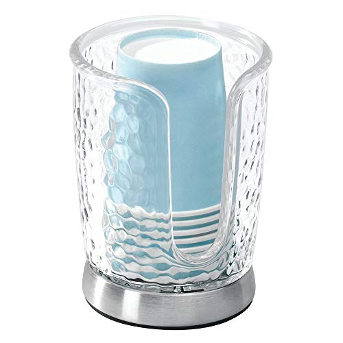 mDesign Modern Plastic Compact Small Disposable Paper Cup Dispenser - Storage Holder for Rinsing Cups on Bathroom Vanity Countertops - Clear/Brushed